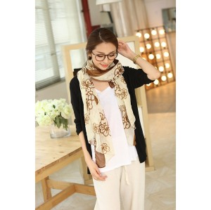 C-0069  New Arrival Famous Brand Flower  Print Cotton Linen Soft Long Scarves Shawl 3 Colors Women