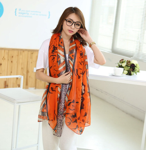 C-0073  New Arrival Famous Brand  Leopard Geometry Design Scrawl Long Rectangle Scarves Shawl 4 Colors Women