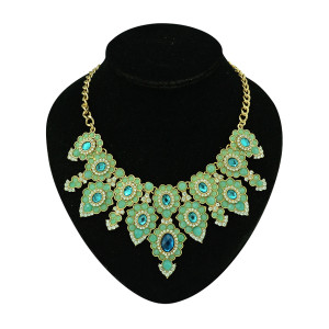 N-5109 New Arrived Golden Metal Blue Black Green Peach Resin Gem Crystal Shourouk Flower Choker Necklace