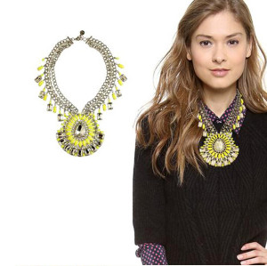 N-5103 Famous brand multi three row silver crystal facted chunky chain blink,shiny big resin gem sunflower drop N-5103  pendant luxury collar statement necklace