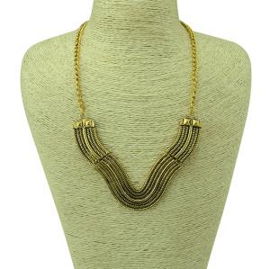 N-5117  European style vintage gold / silver caving vertical metal flower V shape geometry choker necklace