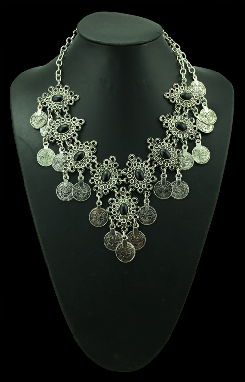 S-0100  Silver TURKISH Coin Earrings Necklace Set floral design. Boho Gypsy Beachy Ethnic Tribal Festival Jewelry Turkish Bohemian