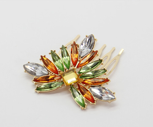 F-0187 European style gold Plated Colorful  Crystal Shourouk  Hair Comb 1 Color Leaf Flower  hair accessories