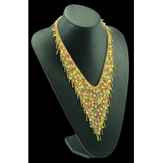 N-5110  Z*A Style Gold Plated Handmade Colorful Beaded Collar Necklace