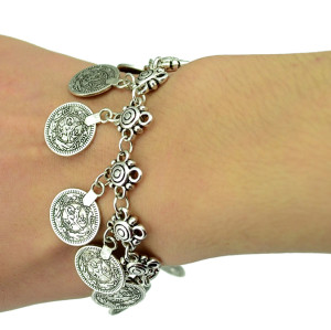 Flower Child Silver Coin Bracelet Adjustable Handmade floral design. Boho Gypsy Beachy Ethnic Tribal Festival Jewelry Turkish Bohemian