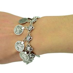 Flower Child Silver Coin Bracelet Adjustable Handmade floral design. Boho Gypsy Beachy Ethnic Tribal Festival Jewelry Turkish Bohemian