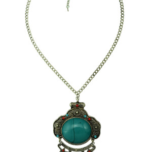 N-5127  Silver Turkish Bohemian National Style Carving Flower Acrylic Gemstone Coin Necklace floral design. Boho Gypsy Beachy Ethnic Tribal Festival Jewelry