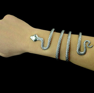 B-0393  Vintage Style Silver Snake Shape Open Bangle Cuff