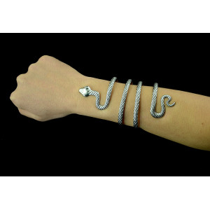 B-0393  Vintage Style Silver Snake Shape Open Bangle Cuff