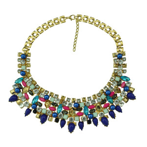 N-5126  Shourouk Choker Necklace Colorful Resin Gem Pearl Best Gift