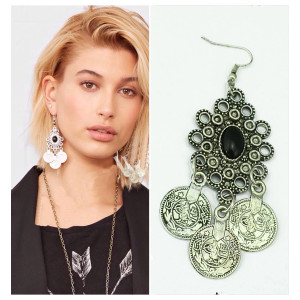 S-0100  Silver TURKISH Coin Earrings floral design. Boho Gypsy Beachy Ethnic Tribal Festival Jewelry Turkish Bohemian
