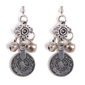 E-3253  Silver TURKISH Bell Coin Earrings floral design. Boho Gypsy Beachy Ethnic Tribal Festival Jewelry