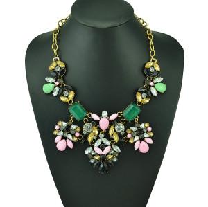 N-5125  Shourouk Choker Necklace Golden Metal Colorful Resin Gem Crystal Flower Best Gift