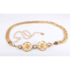 N-5121  European style rose gold layered snake chain rhinestone metal lace flower waist chain skirts jewelry
