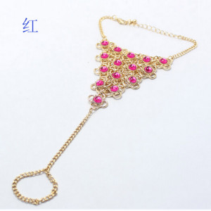 B-0402  Europe Style ASOS Gold Plated AlloyRose/Green Clover Four Leaf  link ring bracelet
