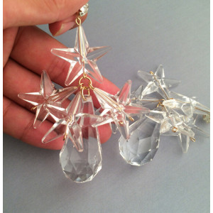 E-3257  European Crystal Big Resin Clear Stars Drop Earring