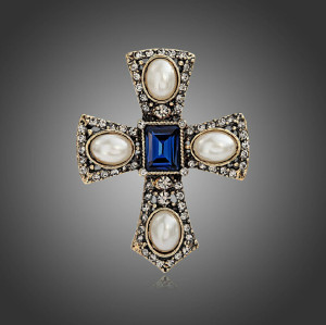 P-0138  European Style Golden Alloy Pearl Rhinestone Blue Crystal Cross Pin Brooch