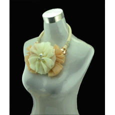 N-5136  Flower Girls Ribbon Chain Pearl Big Lace Flower Necklace Wedding Jewelry Presents