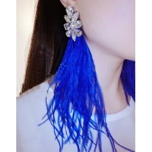 E-3268 2Colors fashion bohemia white rhinestone flower dangle earrings feathers tassel long earrings design female jewelry