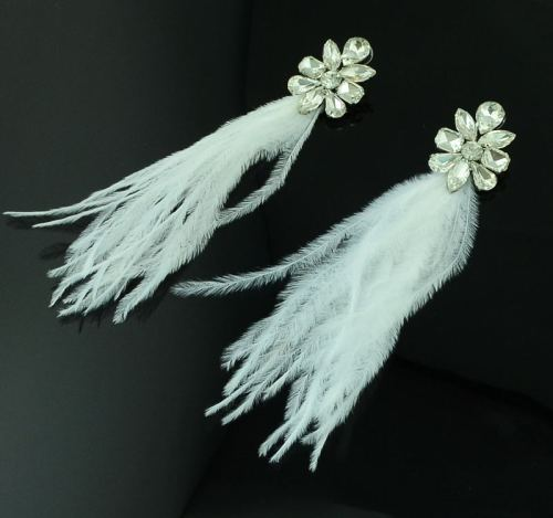 E-3268 2Colors fashion bohemia white rhinestone flower dangle earrings feathers tassel long earrings design female jewelry