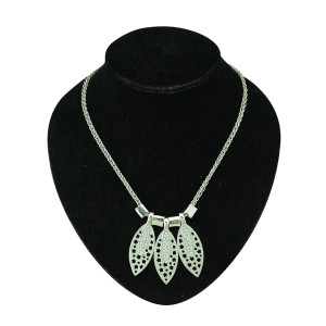 N-5130  Silver Metal Hollow Out Flower Rhinestone Leaf Pendant Earring Necklace Jewelry Set