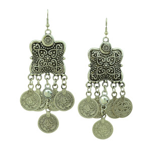 E-3266 Bohemian style carving flower Coin Statement Earring ethnic,gypsy,beach,india,african stone jewelry