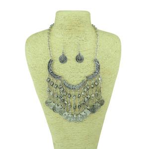 N-5140 Bohemian Gypsy Love Affair Necklace Earring Set Antalya Silver Coin Choker, Bib Statement Fringe Turkish Bohemian Boho India Festival, Coachella