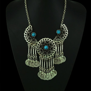 N-5051 Gypsy Bohemian Beachy Chic Statement Necklace, Boho Festival Silver, Fringe Bib, Coin, Ethnic, Turkish, India, Tribal,
