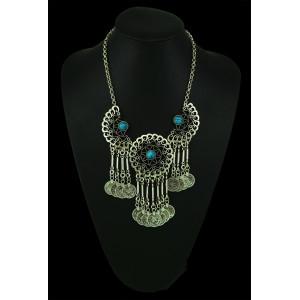 N-5051 Gypsy Bohemian Beachy Chic Statement Necklace, Boho Festival Silver, Fringe Bib, Coin, Ethnic, Turkish, India, Tribal,