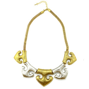 N-5138 vintage style golden silver metal anchor choker necklace