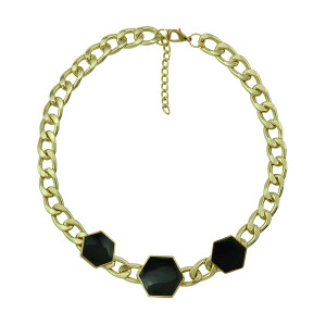 N-5147  Gold Plated CCB Link Chain Black Enamel Geometry Hexagon Necklace