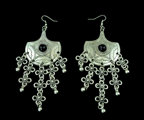 E-3259   Bohemian style carving flower black gem stone clover balls long tassel hangling earrings,ethnic,gypsy,beach,india,african stone jewelry