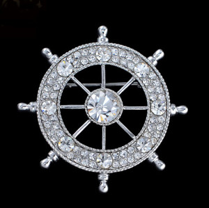 P-0140  European Style Gold Silver Plated Alloy Clear Rhinestone Crystal Rudder Pin Brooch