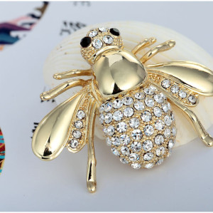P-0137 European and American style animal badge jewelry gold silver plated alloy clear rhinestone crystal bee pin brooch