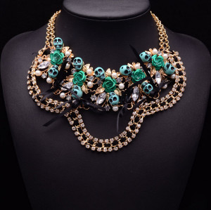 N-5148  Gold Plated Double Chain Rhinestone Crystal Leaves Pearl Bow Rose Flower Skull Statement Necklace