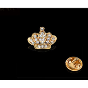 P-0144 European Gold Silver Plated Alloy Rhinestone Crown Collar Pin Brooch