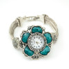 B-0411 Hot Sale Fashion & Casual Antique Silver Wide Layered Chain Big Vogue Flower Bracelet Quartz  Wristwatches Clock