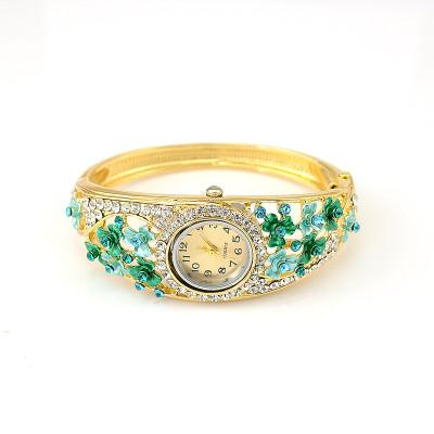 B-0407 Hot Sale European Fashion Style Watch Women Bracelet Charming Rhinestone Flower Alloy Bracelets wristwatch Clock 5 Colors