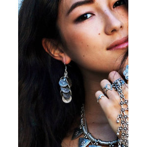 E-3258  Bohemian style carving flower Coin Statement Earring ethnic,gypsy,beach,india,african stone jewelry