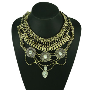 N-5167 European Style Wide Chain Carving Coin Beads Snake Chain Crystal Ethnic Statement Necklace Costume Jewelry