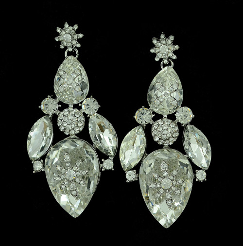 E-3285  Bohemian Wedding Jewelry Rhinestone Big Crystal Shinning Dangle Luxury Earrings