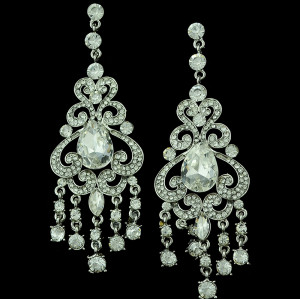 E-3286  Bohemian Wedding Jewelry Rhinestone Big Crystal Shinning Dangle Fringe Luxury Earrings