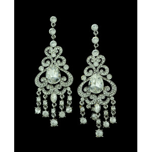 E-3286  Bohemian Wedding Jewelry Rhinestone Big Crystal Shinning Dangle Fringe Luxury Earrings