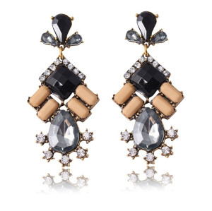 E-3279  Bohemian Tribal Jewelry Vintage Style Golden Acrylic Crystal Statement Earrings