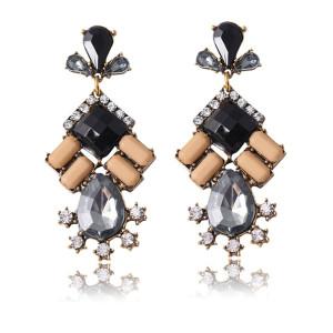 E-3279  Bohemian Tribal Jewelry Vintage Style Golden Acrylic Crystal Statement Earrings