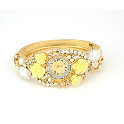 B-0419  Hot Sale European Fashion Style Watch Women Bracelet Charming Rhinestone Crystal Rose Flower Alloy Bracelets wristwatch Clock