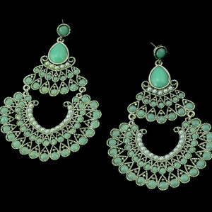 E-3282  Bohemian  Tribal Jewelry Pearl Green Acrylic Carving Flower Peacock Luxury Earrings