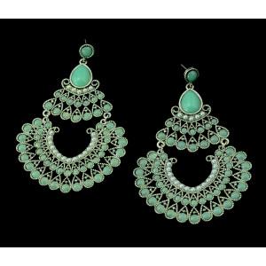 E-3282  Bohemian  Tribal Jewelry Pearl Green Acrylic Carving Flower Peacock Luxury Earrings