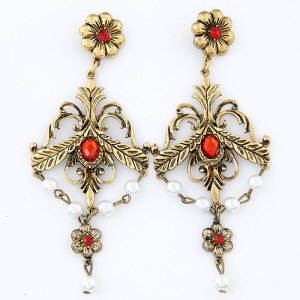 E-3292  Bohemian style Vintage Golden Flower Leaves Rhinestone Pearl Dangle Earrings