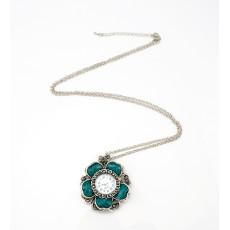 N-5176 intage style flower rhinestone quartz watch pendant necklace